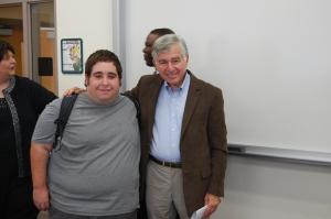 The author with former Massachusetts Gov. Michael Dukakis. // Courtesy Photo