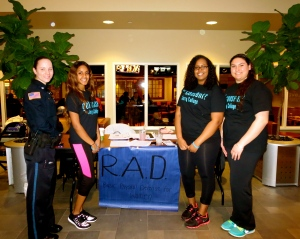 Participants and organizers of the Consent Day event included, from left, Public Safety Officer Irina Deane-Costa, Nazrawit Zeleke, Souban Doualeh and Alicia Guarino.
