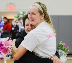 Kylie Beltz with her mother, Marie Schmid, during pregame ceremonies at Curry Senior Night. // COURTESY PHOTO, CURRY ATHLETICS