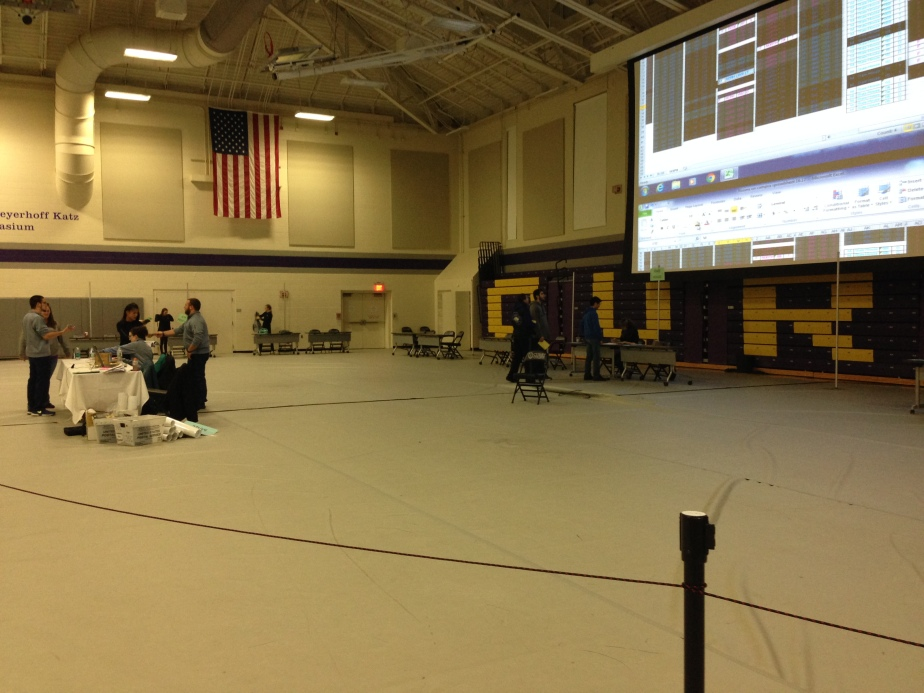 A very different looking gymnasium, set up for the housing selection process // Photo by Cole McNanna